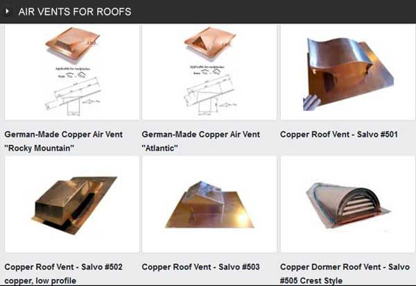 COPPER AIR VENTS FOR ROOF VENTILATION