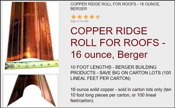 COPPER RIDGE METAL FOR ROOFS sold at the Slate Roof Warehouse