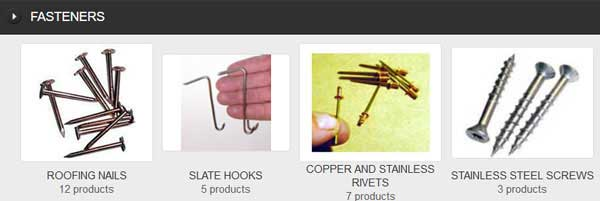 RIVETS, NAILS, SCREWS AND SLATE HOOKS, Copper and Stainless Steel