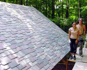 Natural Building Colloquium East, 2005, slate roof installation